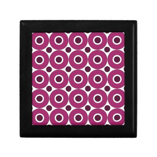 Bold Purple Polka Dots Concentric Circles Pattern Keepsake Box