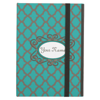 Bold Quatrefoil Pattern in Green and Brown iPad Air Cover