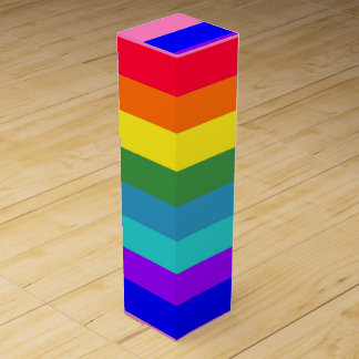 Bold Rainbow Stripes wine gift box