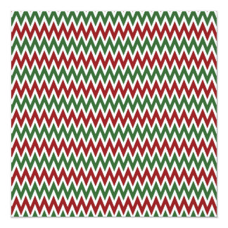 Bold Red and Green Christmas Chevron Zigzags 13 Cm X 13 Cm Square Invitation Card