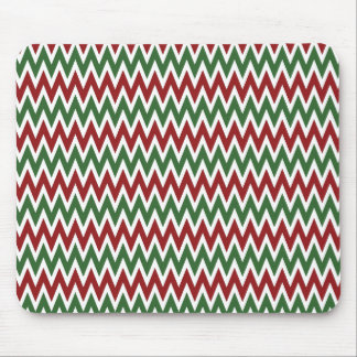 Bold Red and Green Christmas Chevron Zigzags Mouse Pad