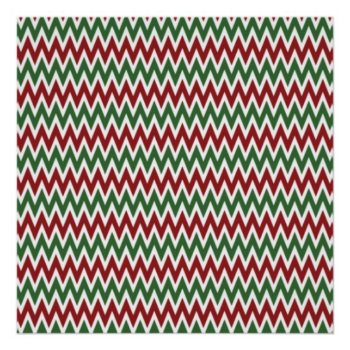 Bold Red and Green Christmas Chevron Zigzags Poster