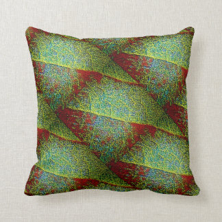 Bold red and green fine mosaic leaf closeup cushion