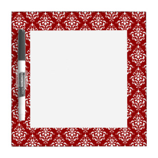 BOLD RED AND WHITE DAMASK PATTERN 1 DRY ERASE BOARD