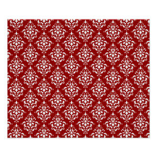 BOLD RED AND WHITE DAMASK PATTERN 1 PRINT
