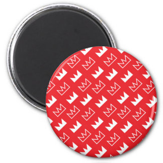 Bold Red and White King Queen crown abstract 6 Cm Round Magnet