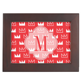 Bold Red and White King Queen crown abstract Keepsake Box