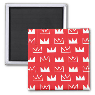 Bold Red and White King Queen crown abstract Square Magnet