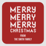 Bold RED and White Merry Christmas Gift Labels Square Sticker