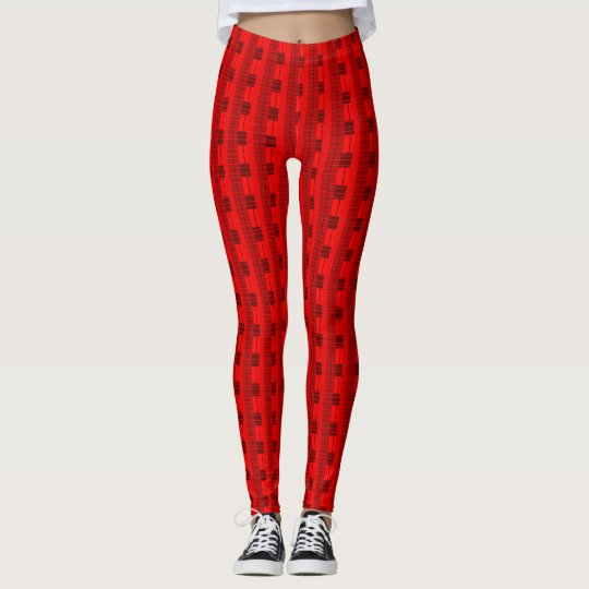 Bold Red & Black Plaid Fun Patterned Leggings
