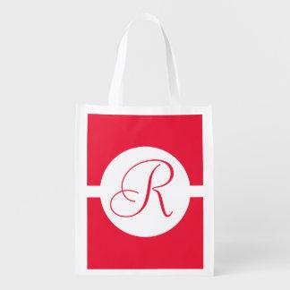 Bold Red Circle Monogram Reusable Grocery Bag