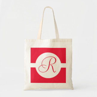 Bold Red Circle Monogram Tote Bag
