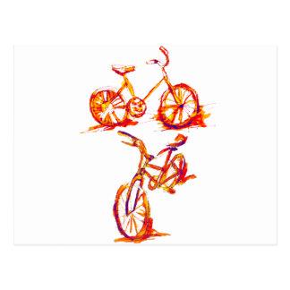 Bold Red Cycling Bike Postcard
