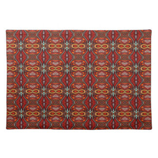 Bold red geometric tribal designer placemats