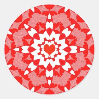 Bold Red Heart Kaleidoscopic Sticker