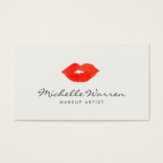 Bold Red Lips Watercolor Makeup Artist Business Card