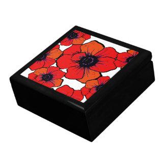 Bold Red Orange Flowers Trinket Box