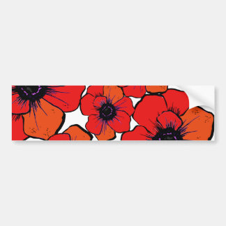 Bold Red Orange Poppies Bumper Sticker