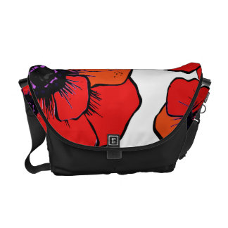 Bold Red Orange Poppies Courier Bags