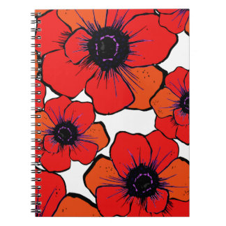 Bold Red Orange Poppies Notebooks