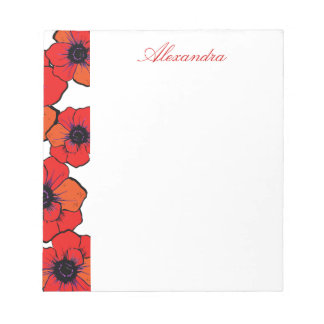 Bold Red Orange Poppies Notepad