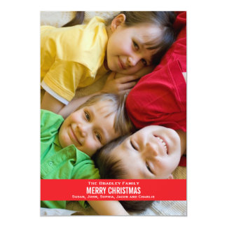 Bold Red Ribbon Christmas Card- white back Card