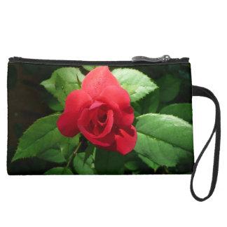 Bold Red Rose pops  on Clutch Wristlet Purse