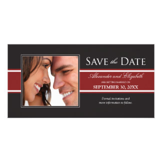 Bold Red Stripe Save the Date Announcement Personalized Photo Card