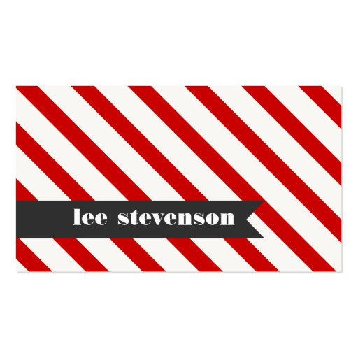 Bold Red White and Black Striped Business Card