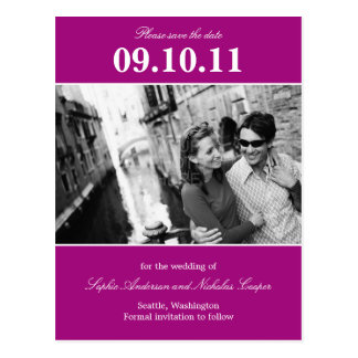 Bold Reminder Save The Date Postcard (Magenta)