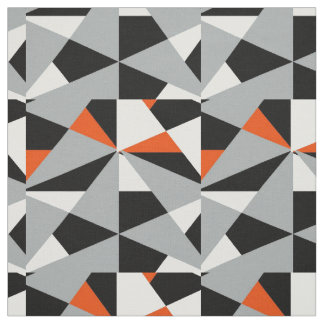 Bold Retro Geometric Orange Grey Black White Mix Fabric