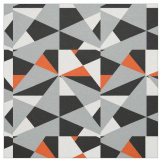 Bold Retro Geometric Orange Grey Black White Mix Fabric