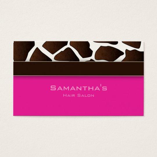 Bold Salon Spa Business Card trendy giraffe pink