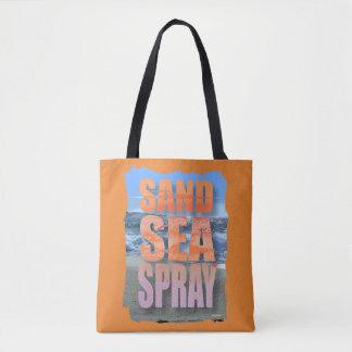Bold  Sand Sea and Spray beach Saying Tote Bag