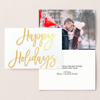 Bold Script | Happy Holidays Typography with Photo Foil Card