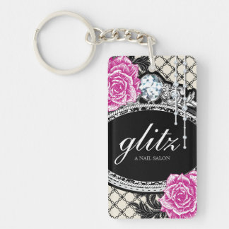 Bold Shabby Chic Floral Keychain