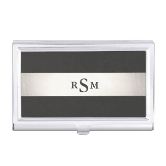 Bold Silver and Black Striped Metallic Monogram Business Card Holder