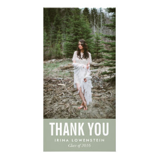 Bold Simple Graduate Thank You Grey Personalised Photo Card