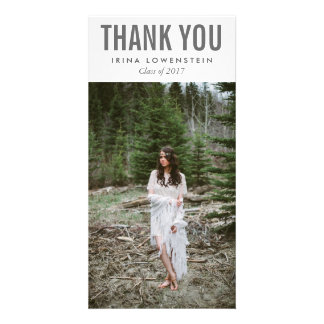 Bold Simple Graduate Thank You Typography Photo Greeting Card