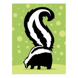 Bold Skunk Illustration With Green Dots Postcard