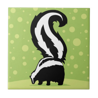 Bold Skunk Illustration With Green Dots Small Square Tile