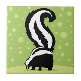 Bold Skunk Illustration With Green Dots Tile