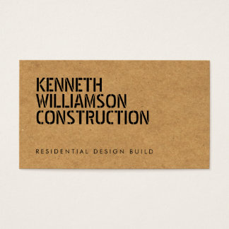 Bold Stenciled Particle Board Construction Business Card