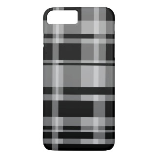 Bold Stripe Pattern - modern plaid - grey black iPhone 8 Plus/7 Plus Case