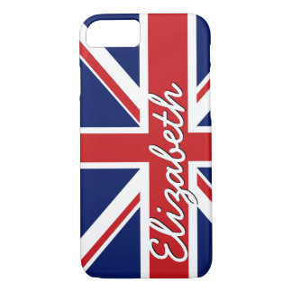 Bold Stripe Pattern - Union Jack Flag with Name iPhone 7 Case