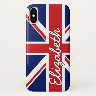 Bold Stripe Pattern - Union Jack Flag with Name iPhone X Case