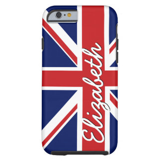 Bold Stripe Pattern - Union Jack Flag with Name Tough iPhone 6 Case