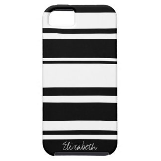 Bold Stripe Pattern with Name - black white iPhone 5 Cover