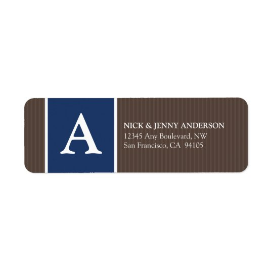 Bold Stripe Return Address Label (chocolate/navy)