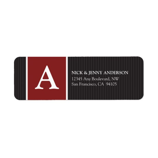 Bold Stripe Return Address Label (red)
